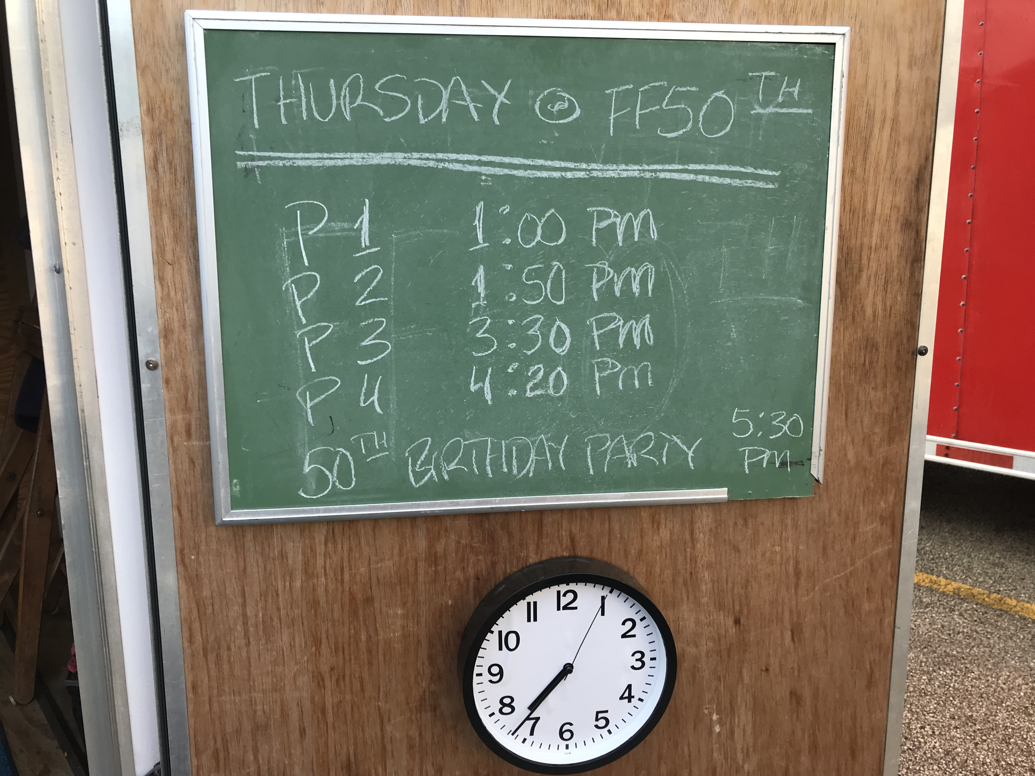 FF50th Thursday Schedule