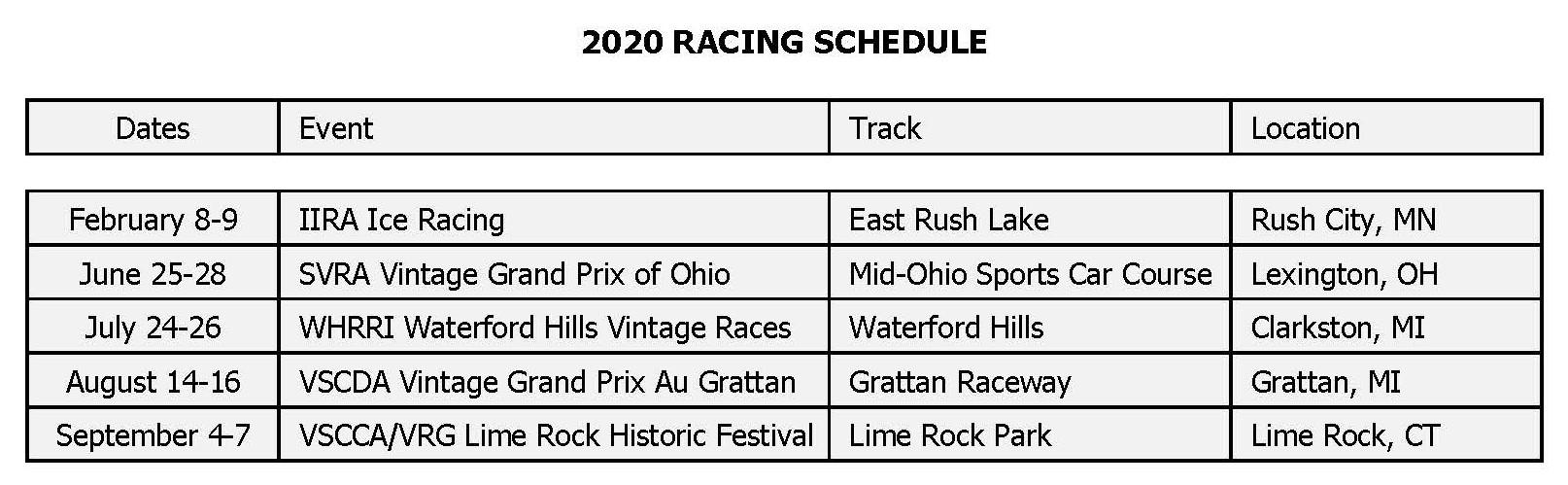 Steve Beeler 2020 Racing Schedule