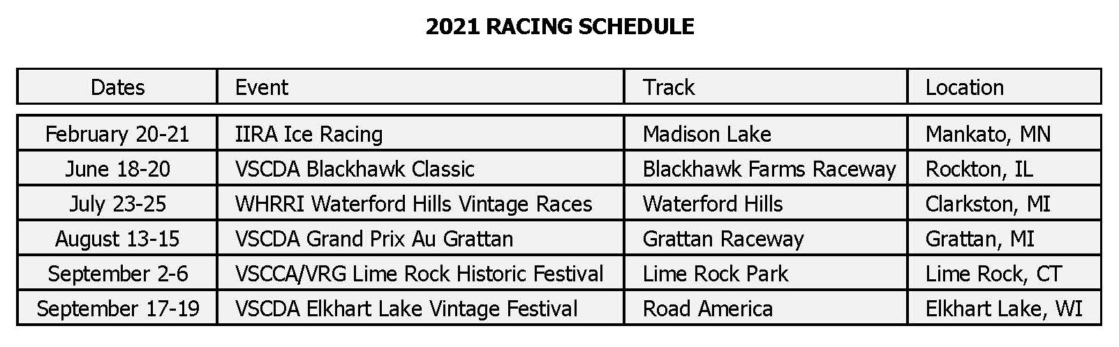 Steve Beeler 2021 Racing Schedule